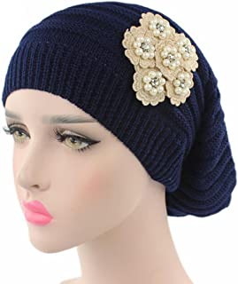 Leoy88 Womens Knitting Casual Hat Beanie Turban Head Wrap Cap with Pearl Flower