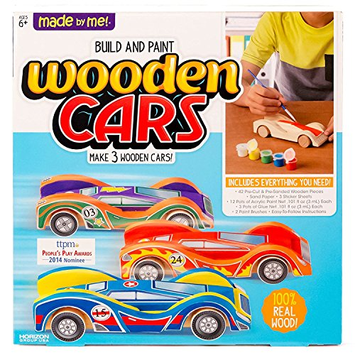 Image of Made By Me Build & Paint Your Own Wooden Cars by Horizon Group Usa, DIY Wood Craft Kit, Easy To Assemble & Paint 3 Race Cars, Multicolored