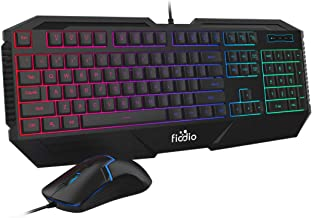 FIODIO Wired Gaming Keyboard and Mouse Combo, RGB Rainbow Backlit Ergonomic Keyboards with 104 Multimedia Keys Wrist Rest, 1600 DPI Gamer Mouse for Windows PC and Desktop Computer (F-1100, Black)