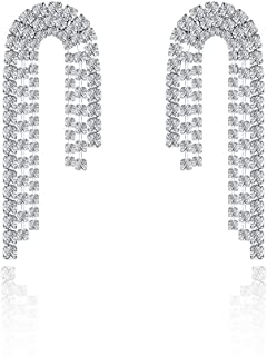 Italina Three Strands Dangle Earrings Cubic Zirconia Round Cut Jewelry Earrings for Women Girls Fashion 18K White Gold Plated