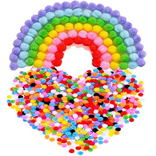 Pompones para Manualidad y Materiales de Gustos, 8 mm, 1000 Piezas, Colores Variados