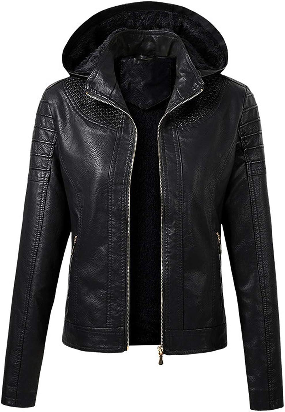 PAODIKUAI Women's Fleece Lined Sherpa Faux Leather Jacket with Removable Hood
