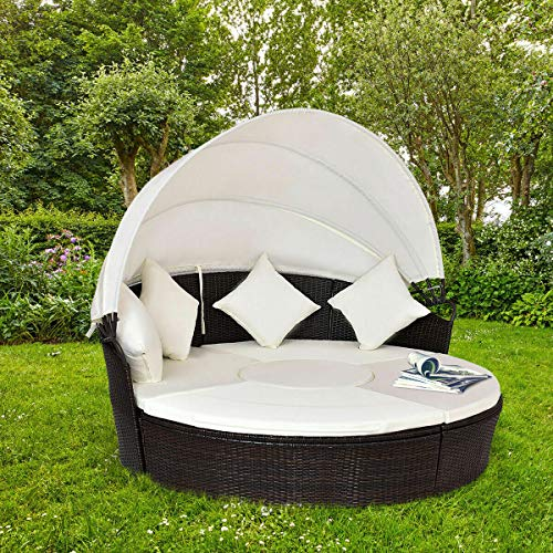 Stark Item Outdoor Patio Canopy Cushioned Daybed Round Retractable Rattan Furniture Set