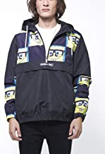 Members Only Men's Spongebob Print Half-Zip Windbreaker Jacket