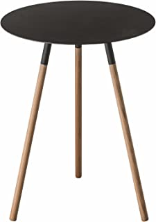 Red Co. Wood & Steel Mid-Century Modern Round Side Table in Black Finish