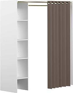 Marque Amazon -Movian Arga - Penderie, 123/160x50x182cm (longueurxprofondeurxhauteur), Blanc et rideau gris taupe