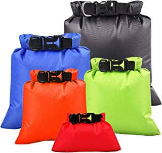 Yundxi Dry Bag Stuff Sacks Waterproof and Portable Storage Pouch for Kayaking Beach Rafting Boating Hiking Camping Surfing, Pack of 5