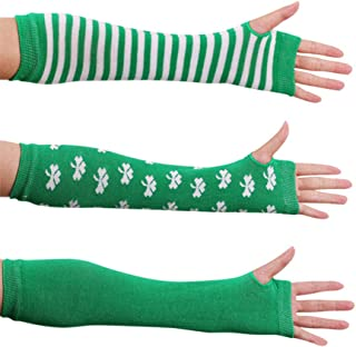 TENDYCOCO St. Patricks Day Costume Accessory Arm Warmers Long Fingerless Gloves 3Pairs