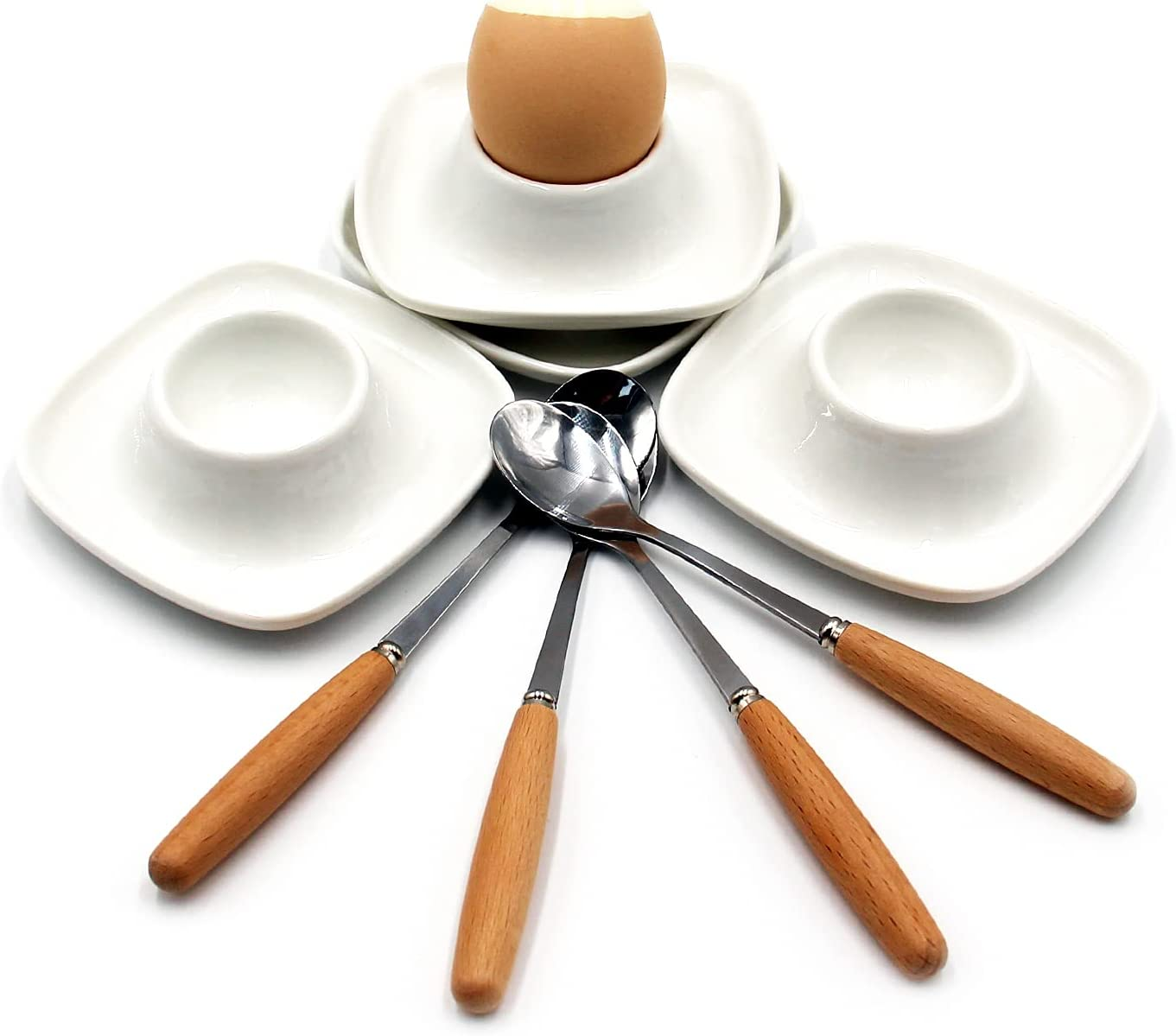 JAMOR Square Egg Tray Set White Ceram Fashionable Porcelain Cup New mail order