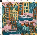 Amsterdam, Europa, Europäisch, Rosa, Orange, Gelb, Kanal