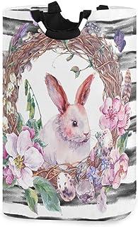 N\A Panier de Rangement à Linge Printemps Joyeuses Pâques Couronne avec des œufs de Lapin Panier à Linge Organisateur Plia...