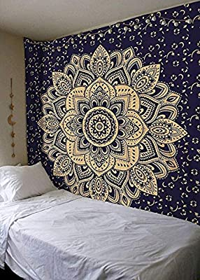 New Launched Blue Gold Passion Ombre Mandala Tapestry By Madhu International, Boho Mandala Tapestry, Wall Hanging, Gypsy Tapestry,Multicolor,85 X 89 inches