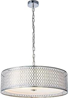 Premium Hängeleuchte Hängeleuchte Hängeleuchte - Nickel satiniert | Stoff weiß | Milchglas Rund Schirm - Geometrische Lampenfassung - Multi-Leuchtmittel & Rose - 3X E27 - 40W MAX