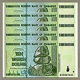 Original Oficial de Zimbabwe 10 Trillion de dólares x 5 Piezas, número de Serie AA / 2008, P-90, UNC