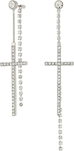 GUESS Pave Cross Front Back Earrings