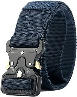 Nylon Tactical Belt, Adjustable Durable Belt with Metal Buckle for Men
