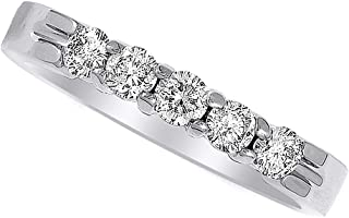 AFFY White Natural Diamond Wedding Anniversary Band Ring in 14k Solid Gold (0.5Ct)