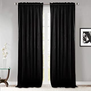 StangH Thermal Insulated Velvet Curtains - Living Room Blackout Velvet Drapes Soundproof Privacy Protect Panel Draperies for French Door, Black, 52 x 84 inches Long, Set of 2
