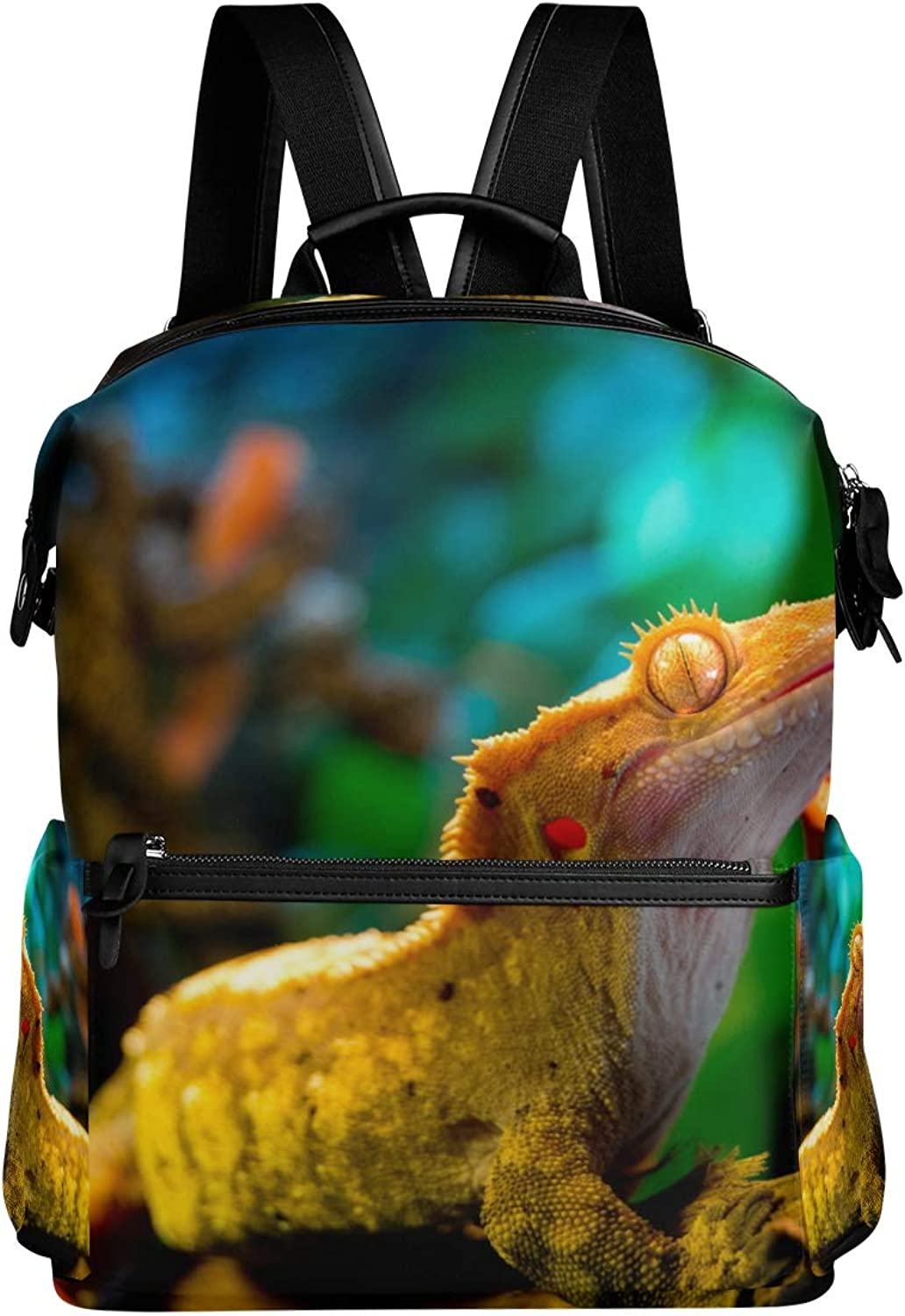 MONTOJ Awesome Reptile Gecko Lizard Leather Travel Bag Campus Backpack