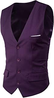 Mogogo Men's Oversize Sleeveless Thin Belted Suit Dress Button Vest