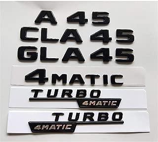 Gloss Glossy Black Fender Trunk Lid Emblem Emblems Badges for Mercedes Benz W176 W177 A45 X117 CLA45 X156 GLA45 AMG TURBO 4MATIC (TURBO AMG(1 pair))