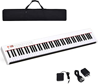 $189 » Costzon BX-II 88-Key Portable Touch Sensitive Digital Piano, Upgraded Electric Keyboard with MIDI/USB Keyboard, Bluetooth, Dynamics Adjustment, Sustain Pedal, Power Supply, and Black Handbag (White)