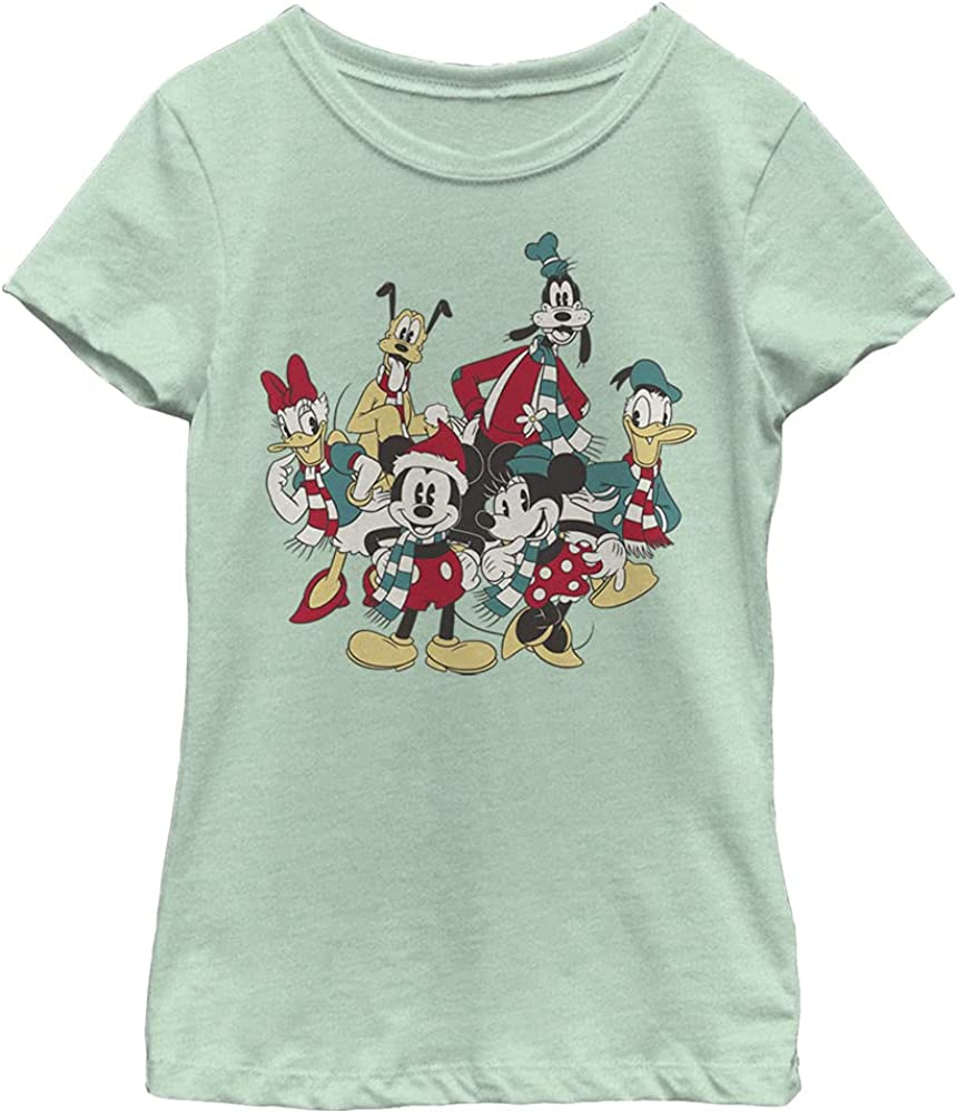 Disney Characters Holiday Group Girl's Heather Crew Tee
