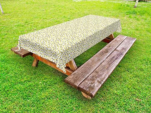 ABAKUHAUS Citroen Tafelkleed voor Buitengebruik, Citrus Blossoms Vitamine C, Decoratief Wasbaar Tafelkleed voor Picknicktafel, 58 x 104 cm, Aarde Geel Grijs