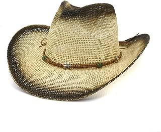 XinLin Du Paint Straw Western Cowboy Hat Women Men Outdoor Summer Beach Hat Woven Rope Visor Women Big Sun Hat