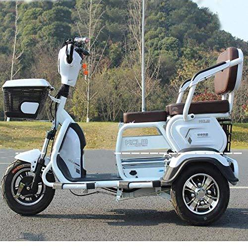 dfff Bicicleta eléctrica de 3 Ruedas, Scooter eléctrico, vagón para Exteriores para Adultos de Litio 60V 20A / Velocidad más rápida 40KM / H/Carga 200 kg para Ancianos discapacitados Hombres W