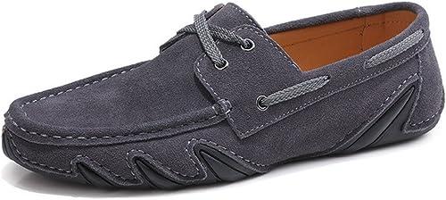 CHENDX Schuhe, Herrenmode aus echtem Leder Fahren Penny Loafers Schnüren Sie Sich Oben Mokassins Flache Weißhe Sohle (Farbe   Grau, Größe   46 EU)