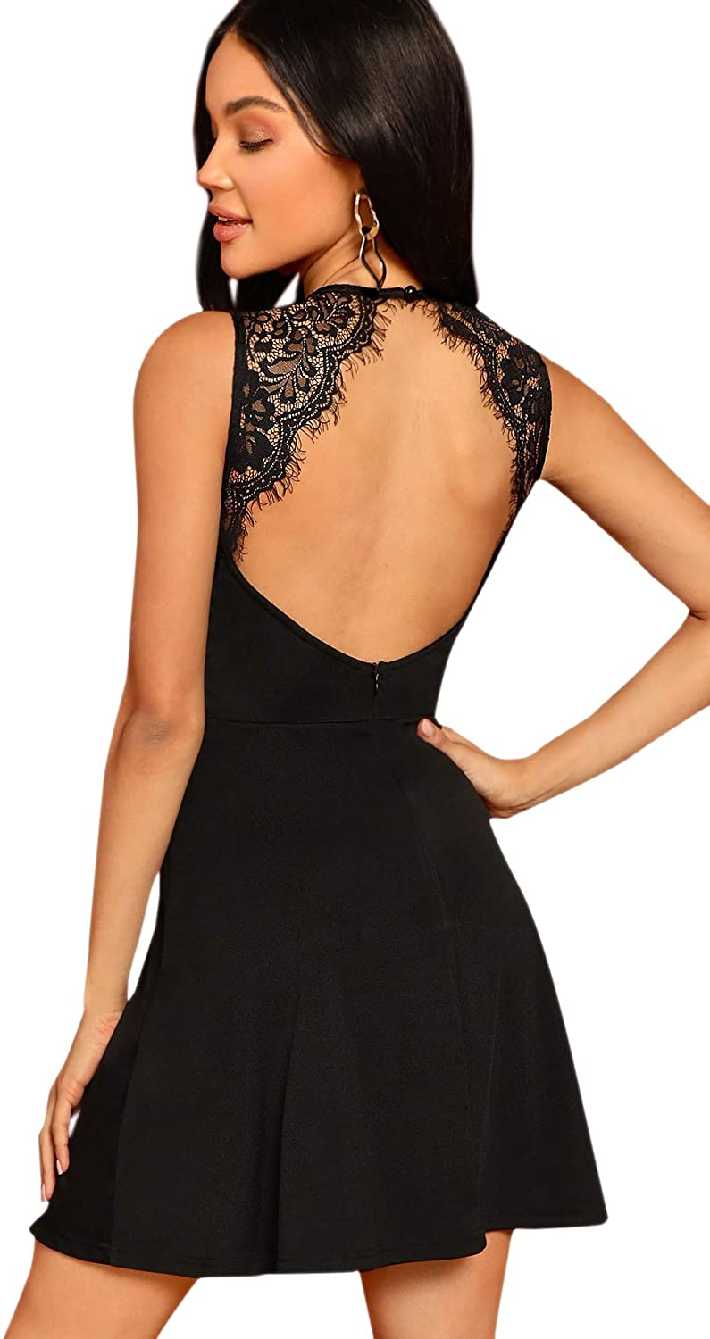 SheIn Women's Sleeveless Lace Applique Cocktail Backless Party Flare Mini Dress