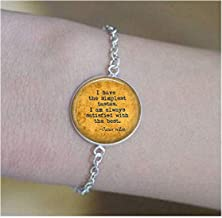 lukuhan Oscar Wilde Quote Pendant - I Have The Simplest Tastes. I'm Always satisfied with The Best. - Funny Quote Jewelry - Literary Jewelry Bracelets