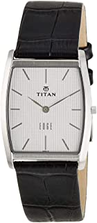 Titan Edge Men's Silver Dial Leather Band Watch - T1044SL01