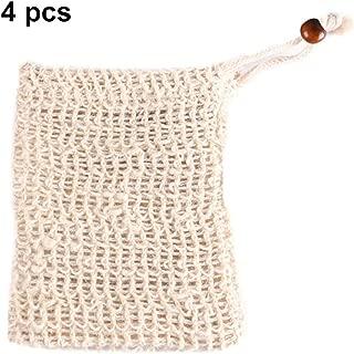 FOONEE Exfoliating Soap Bag, Natural Sisal Soap Bags Exfoliating Mesh Soap Saver Pouch (4 Pack)