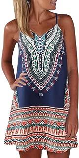 Women's Spaghetti Straps Dress Bohemian Printed Min Dress Ladies Sleeveless A-Line Maxi Mini Sundress