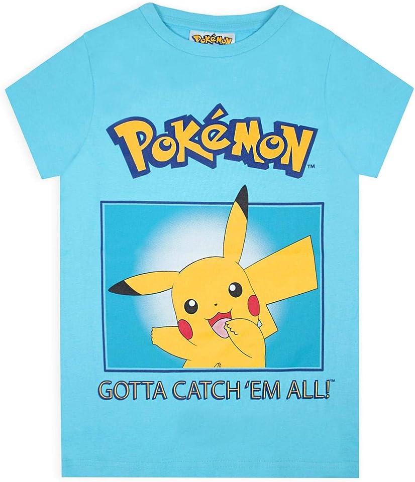 T-Shirt Jungen Pikachu muss sie alle Kinder Mädchen Blue Top fangen