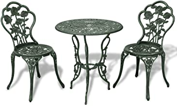 vidaXL Bistro Set 3 Pieces Green Cast Aluminium Outdoor Patio Dining Furniture