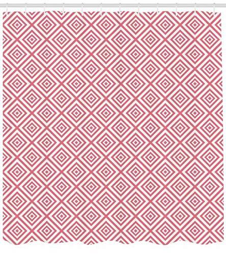 ABAKUHAUS Rosa Duschvorhang, Mosaik Quadratischen Formen Tile, Waserdichter Stoff mit 12 Haken Set Dekorativer Farbfest Bakterie Resistet, 175 x 200 cm, Rosa & weiß