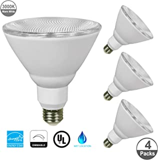JULLISON 4 Packs PAR38 LED Bulb, 120V/13W/980Lumens/40 Degrees Beam, 90W Equivalent, 3000K Warm White, CRI80+, Dimmable, Glass Lens, Outdoor Flood, E26 Base, UL & Energy Star & FCC, Wet Location