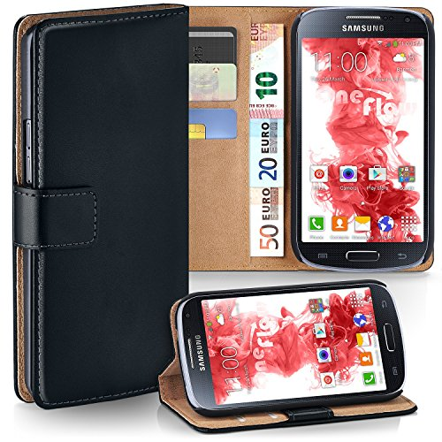 MoEx Premium Book-Case Handytasche kompatibel mit Samsung Galaxy S4 | Handyhülle mit Kartenfach und Ständer - 360 Grad Schutz Handy Tasche, Schwarz