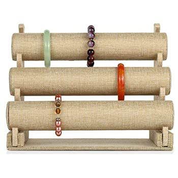 Beige Linen T-bar Jewelry Bracelet Necklace Display Stand Holder Women Gift