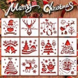 Christmas-Stencils,Sosanping Reusable-Plastic-Craft Snow-Flake-Stencil for DIY-Painting,Walls,Bullet Journal,Art Drawing,Spraying Window,Glass Door Car Body,Wood,Journaling,Scrapbook, Holiday,Home Dec
