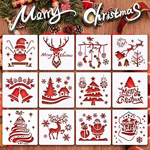 Christmas-Stencils,Sosanping Reusable-Plastic-Craft Snow-Flake-Stencil for DIY-Painting,Walls,Bullet Journal,Art Drawing,Spraying Window,Glass Door Car Body,Wood,Journaling,Scrapbook, Holiday,Home Dec