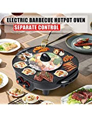 PEALOV Elektrische Hot Pots, 1,8 l, 2-in-1 Hot Pot en Grill Geschikt voor 6 personen, Grill Hot Pot, Gelijkmatig verwarmd met onafhankelijke temperatuurregeling, Afneembare oliedruppelbak, gemakkelijk te reinigen