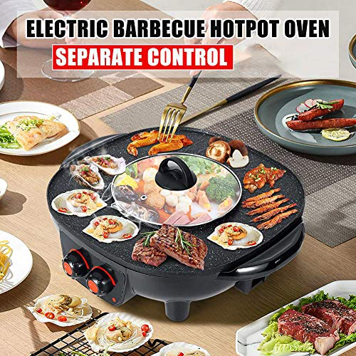 PEALOV Hot Pot Cooker Electric Grill, 2 In 1 Hot Pot And Grill,...