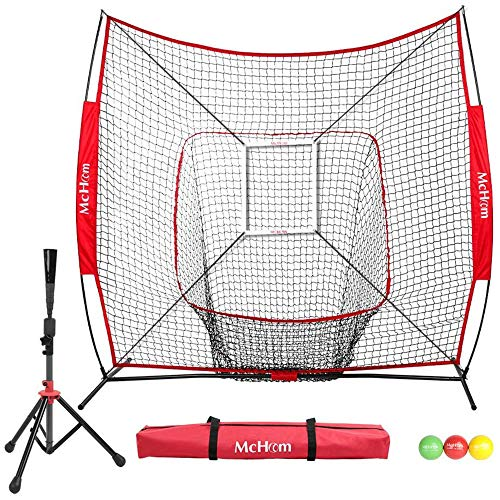 McHom 7' x 7' Baseball & Softball Bundle | Hitting & Pitching Practice Net | Includes Tee, 3 Weighted Balls, Strike Zone & Carry Bag | Collapsible & Portable