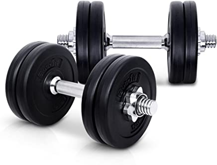 20-35KG Dumbbell Set Bumbbells Weights Plates Adjustable Home Gym Fitness Exercise Workout Training Bar Hand Rack Bench Press Squat Standard Everfit