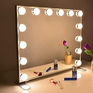 Wonstart 女優ミラー 化粧鏡 ハリウッドスタイル 14個LED電球付き 暖色・寒色 2色ライトモード 明るさ調節可能 女優ライト 卓上 LEDミラー ドレッサー/化粧台適用(シルバー)