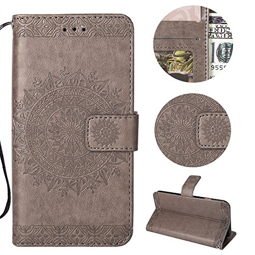 Sycode Galaxy S9 Wallet Hülle,Galaxy S9 Ledertasche,Totem Blumen Grau PU Leder Brieftasche für Samsung Galaxy S9-Grau